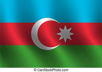 Waving flag of Azerbaijan. Vector illustration
