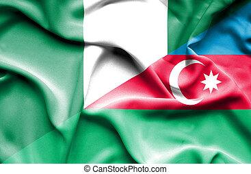 Waving flag of Azerbajan and Nigeria