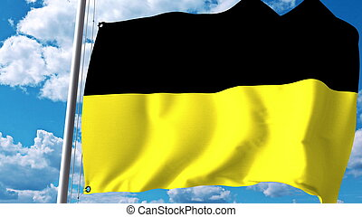 Waving flag of Baden-Wurttemberg, a state of Germany. 3D...