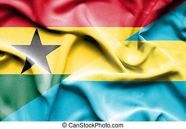 Waving flag of Bahamas and Ghana