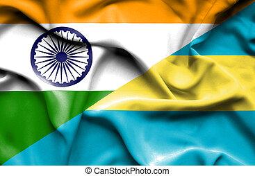 Waving flag of Bahamas and India