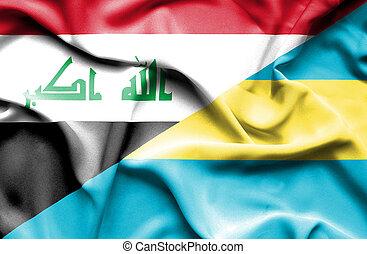 Waving flag of Bahamas and Iraq