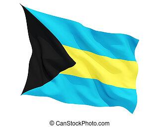 Waving flag of bahamas isolated on white