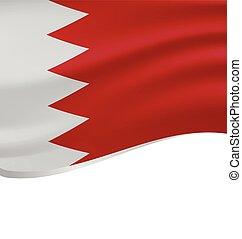 Waving flag of Bahrain isolated on white