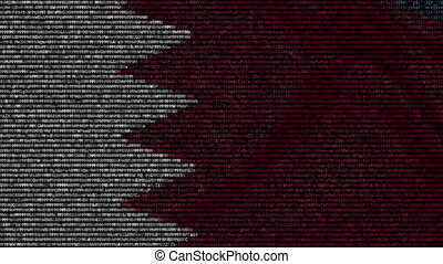 Waving flag of Bahrain made of text symbols on a computer screen. Conceptual loopable animation