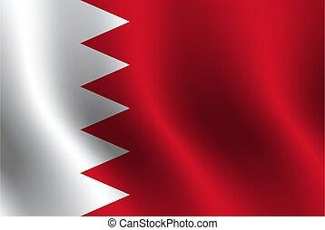 Waving flag of Bahrain. Vector illustration