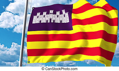Waving flag of Balearic Islands, an autonomous community in Spain. 3D rendering