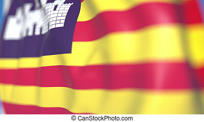 Waving flag of Balearic Islands, an autonomous community in Spain. Close-up, 3D rendering
