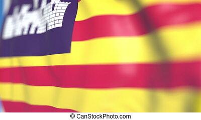 Waving flag of Balearic Islands, an autonomous community in...