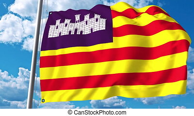 Waving flag of Balearic Islands an autonomous community in...