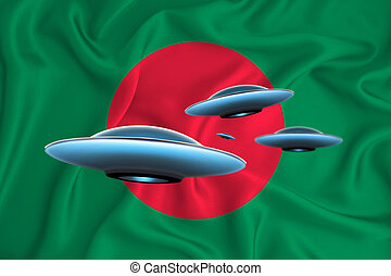Waving flag of Bangladesh. UFO group on the background of the flag. UFO news concept in the country. 3D rendering