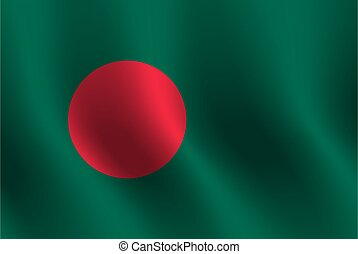 Waving flag of Bangladesh. Vector illustration