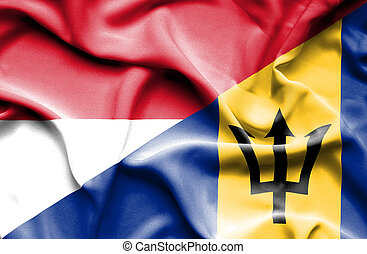 Waving flag of Barbados and Indonesia