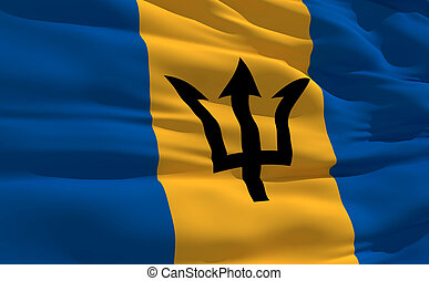 Waving flag of Barbados - Fluttering flag of Barbados on the...
