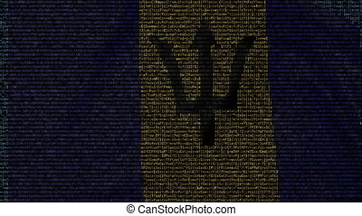 Waving flag of Barbados made of text symbols on a computer...