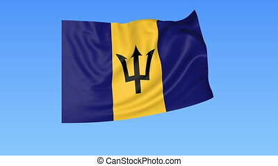 Waving flag of Barbados, seamless loop. Exact size, blue background. Part of all countries set. 4K ProRes with alpha.