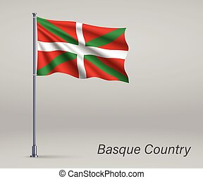 Waving flag of Basque Country - region of Spain on flagpole. Template for independence day poster