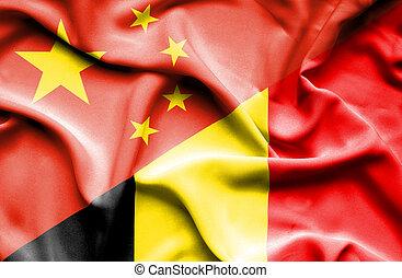 Waving flag of Belgium and China