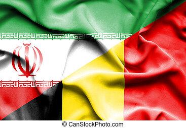 Waving flag of Belgium and Iran