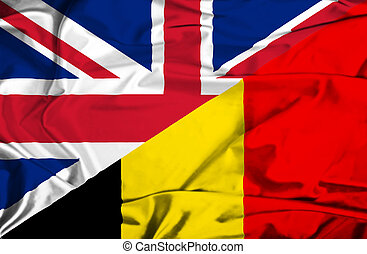 Waving flag of Belgium and UK