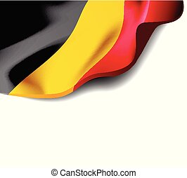 Waving flag of Belgium close-up with shadow on white background. Vector illustration with copy space