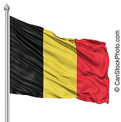 Waving flag of Belgium - Flag of Belgium with flagpole ...