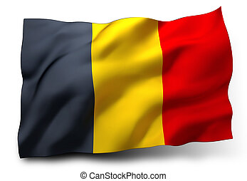 flag of Belgium - Waving flag of Belgium isolated on white ...