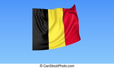 Waving flag of Belgium, seamless loop. Exact size, blue...