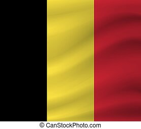 Waving flag of Belgium. Vector illustration