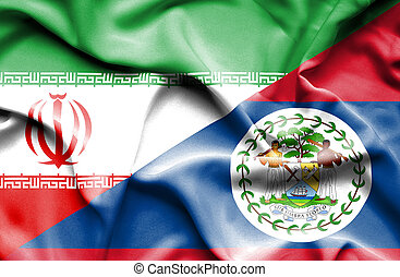 Waving flag of Belize and Iran