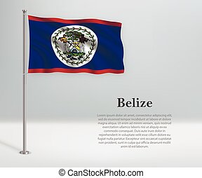 Waving flag of Belize on flagpole. Template for independence day poster