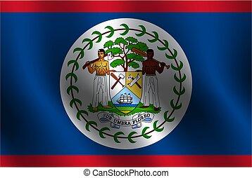 Waving flag of Belize. Vector illustration