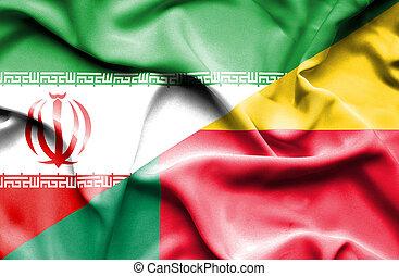 Waving flag of Benin and Iran