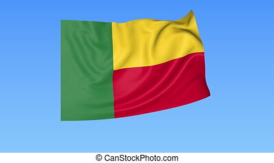 Waving flag of Benin, seamless loop. Exact size, blue background. Part of all countries set. 4K Pro Res with alpha.