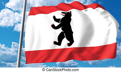 Waving flag of Berlin the capital and a state of Germany -...