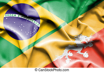 Waving flag of Bhutan and Brazil