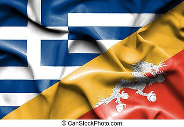 Waving flag of Bhutan and Greece