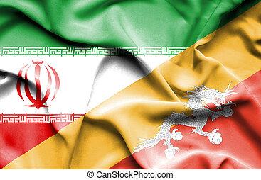 Waving flag of Bhutan and Iran