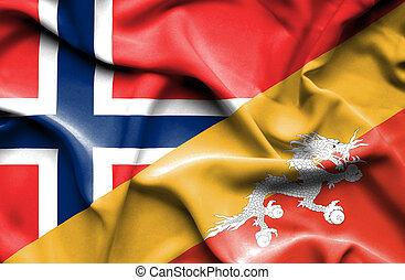 Waving flag of Bhutan and Norway