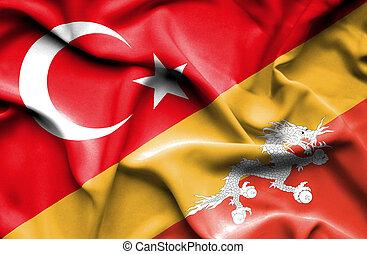 Waving flag of Bhutan and Turkey