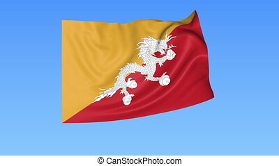 Waving flag of Bhutan, seamless loop. Exact size, blue background. Part of all countries set. 4K ProRes with alpha.