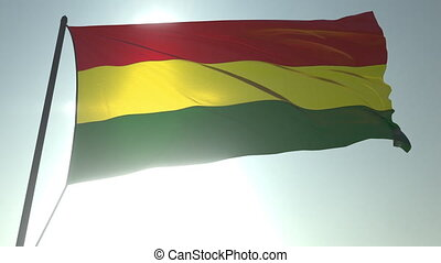 Waving flag of Bolivia against shining sun and sky. Realistic loopable 3D animation