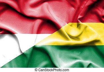 Waving flag of Bolivia and Indonesia