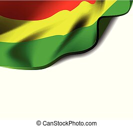 Waving flag of Bolivia close-up with shadow on white background. Vector illustration with copy space