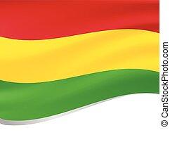 Waving flag of Bolivia isolated on white