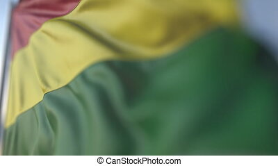 Waving flag of Bolivia, shallow focus close-up. Realistic loopable 3D animation