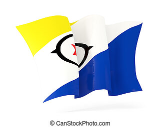 Waving flag of bonaire isolated on white. 3D illustration