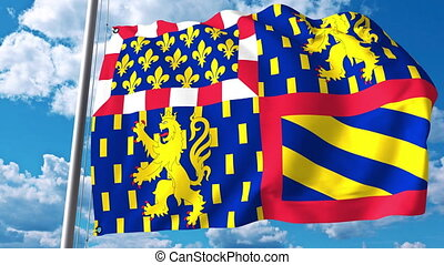 Waving flag of Bourgogne-Franche-Comte a region of France -...