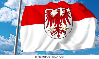Waving flag of Brandenburg a state of Germany