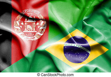 Waving flag of Brazil and Afghanistan